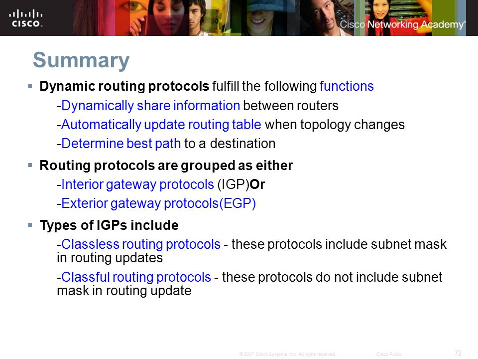 Summary Dynamic routing protocols fulfill the following functions