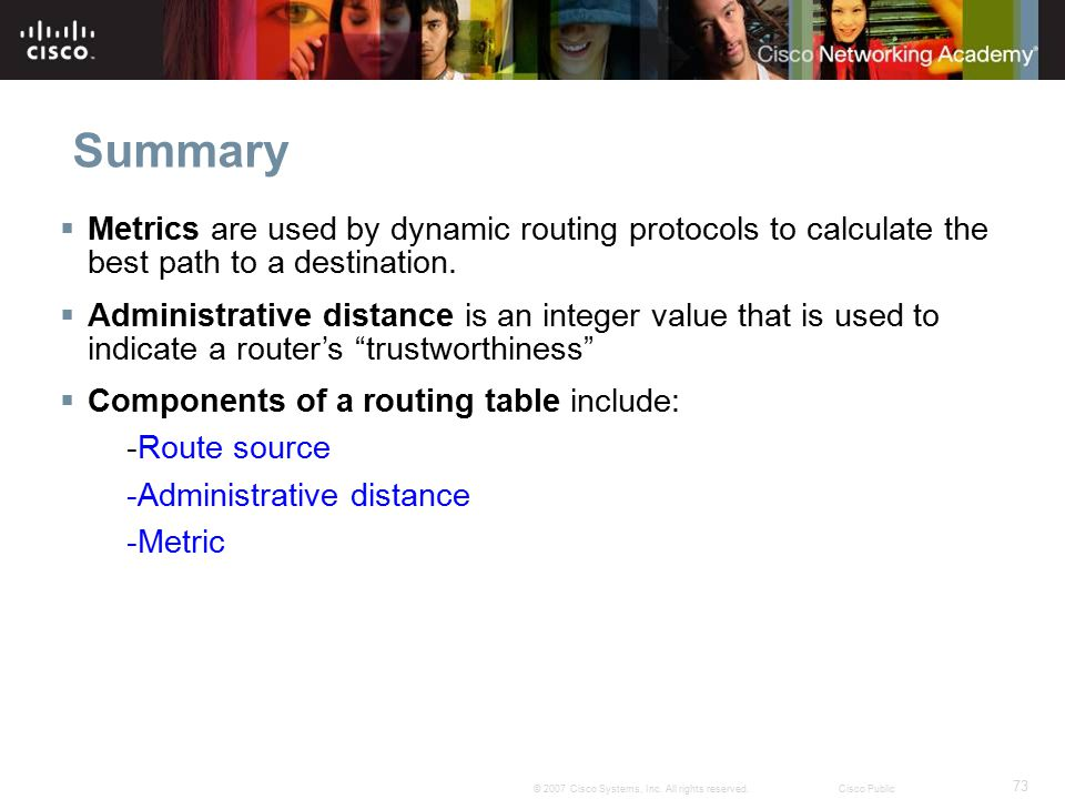 Summary Metrics are used by dynamic routing protocols to calculate the best path to a destination.