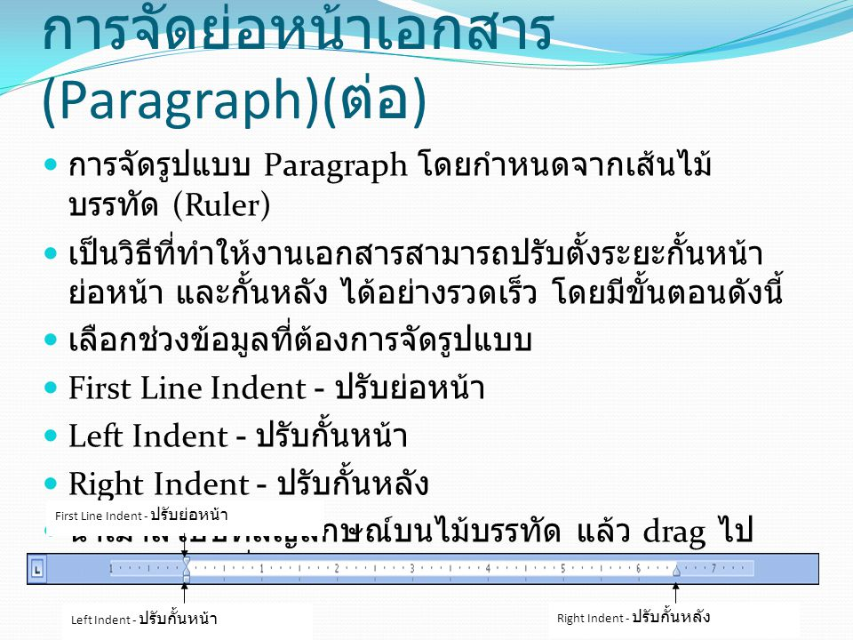 การจัดย่อหน้าเอกสาร (Paragraph)(ต่อ)