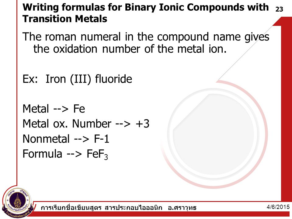 Writing formulas for Binary Ionic Compounds with Transition Metals
