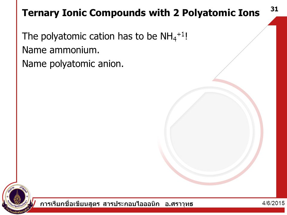 Ternary Ionic Compounds with 2 Polyatomic Ions