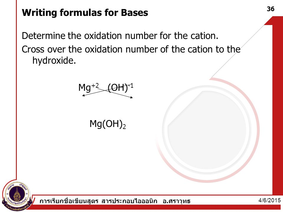 Writing formulas for Bases