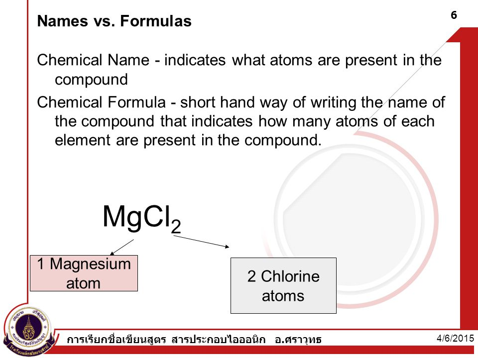 Names vs. Formulas Chemical Name - indicates what atoms are present in the compound.