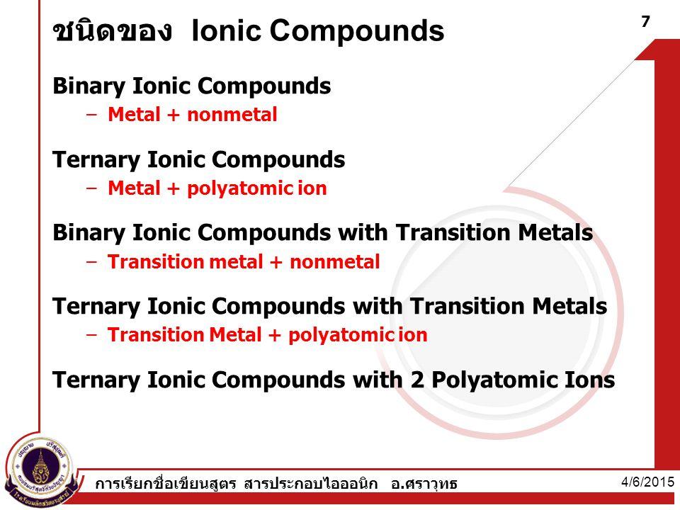 ชนิดของ Ionic Compounds