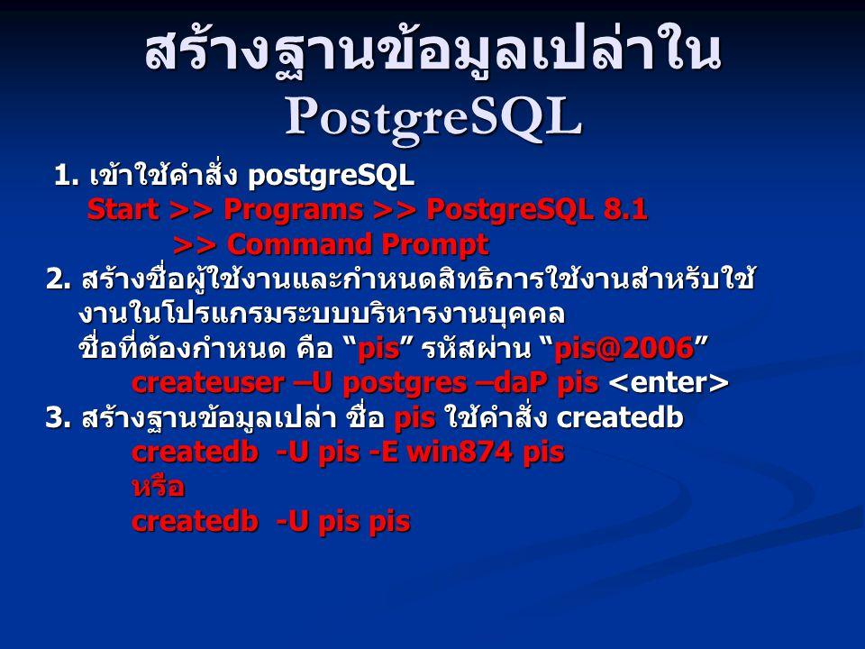 สร้างฐานข้อมูลเปล่าใน PostgreSQL