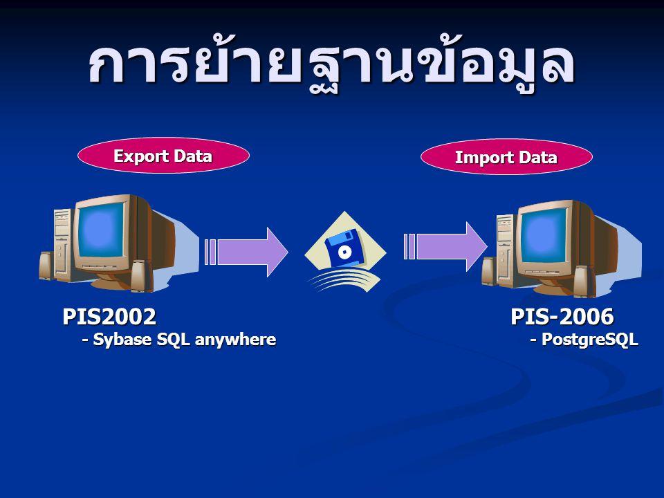 การย้ายฐานข้อมูล PIS2002 PIS-2006 Export Data Import Data