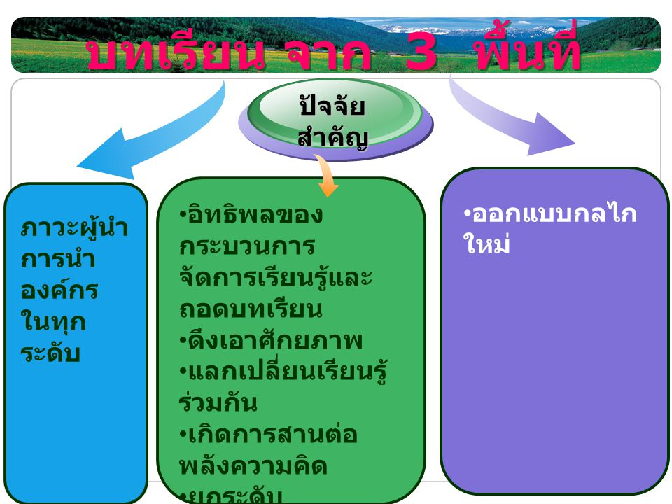 บทเรียน จาก 3 พื้นที่ ปัจจัยสำคัญ