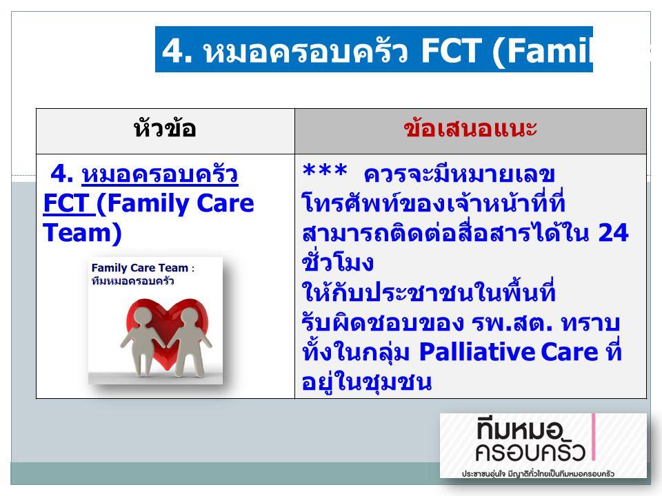 4. หมอครอบครัว FCT (Family Care Team)