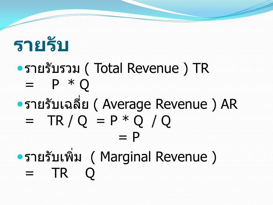 รายรับ รายรับรวม ( Total Revenue ) TR = P * Q