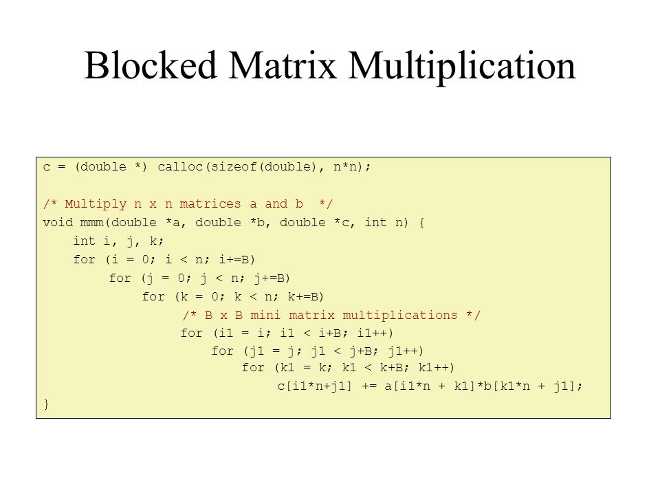 Blocked Matrix Multiplication