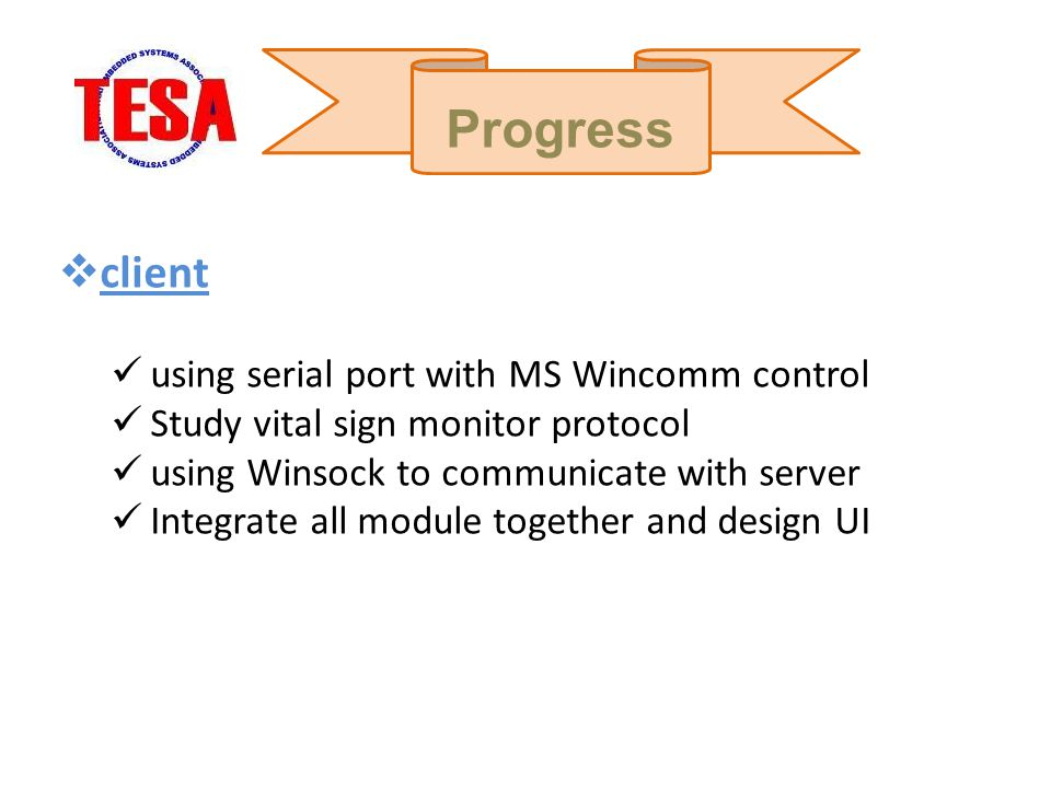 Progress client using serial port with MS Wincomm control