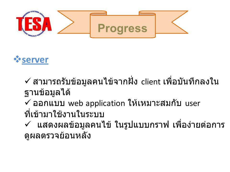 Progress server. สามารถรับข้อมูลคนไข้จากฝั่ง client เพื่อบันทึกลงในฐานข้อมูลได้
