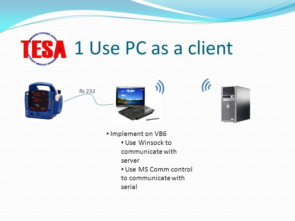 1 Use PC as a client Implement on VB6