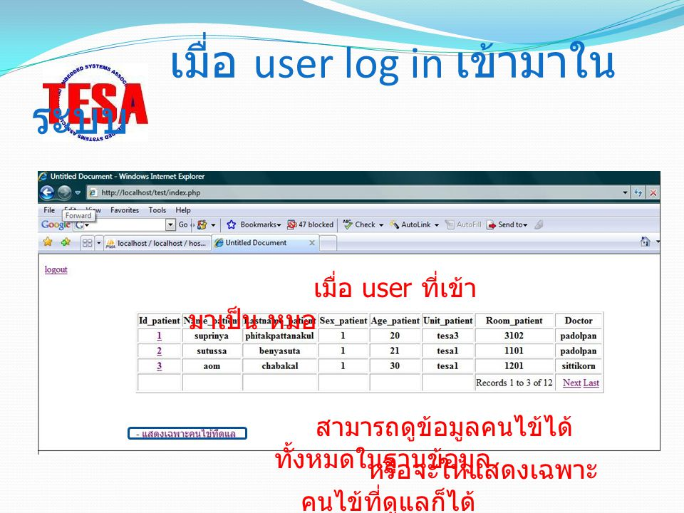 เมื่อ user log in เข้ามาในระบบ