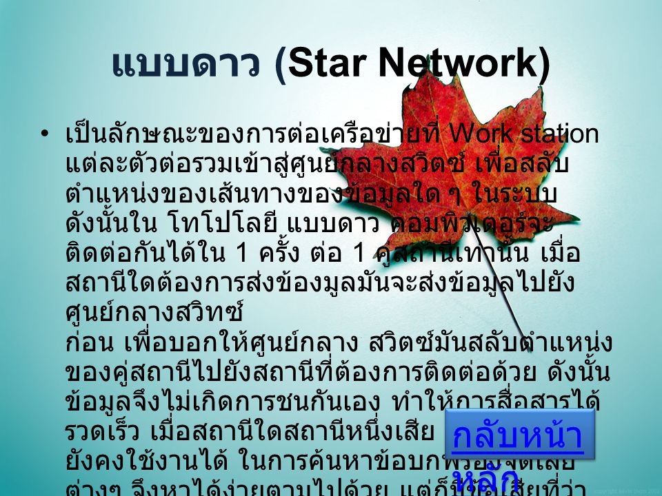 แบบดาว (Star Network) กลับหน้าหลัก