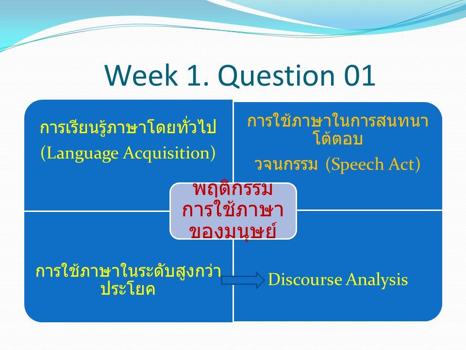 Week 1. Question 01 พฤติกรรมการใช้ภาษาของมนุษย์ (Language Acquisition)