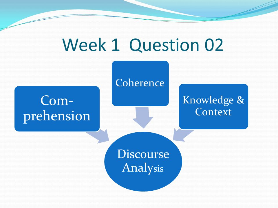 Week 1 Question 02 Com-prehension Discourse Analysis Coherence
