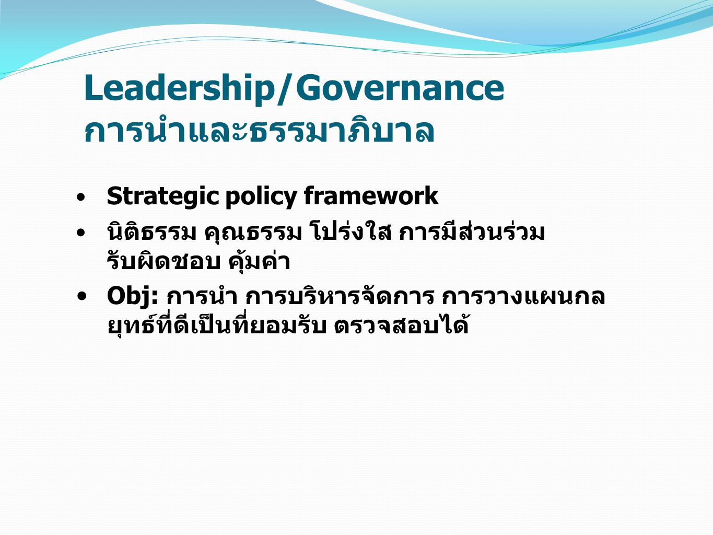 Leadership/Governance การนำและธรรมาภิบาล