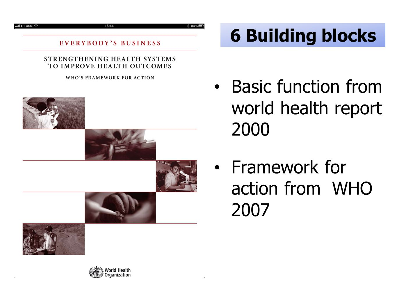 Basic function from world health report 2000