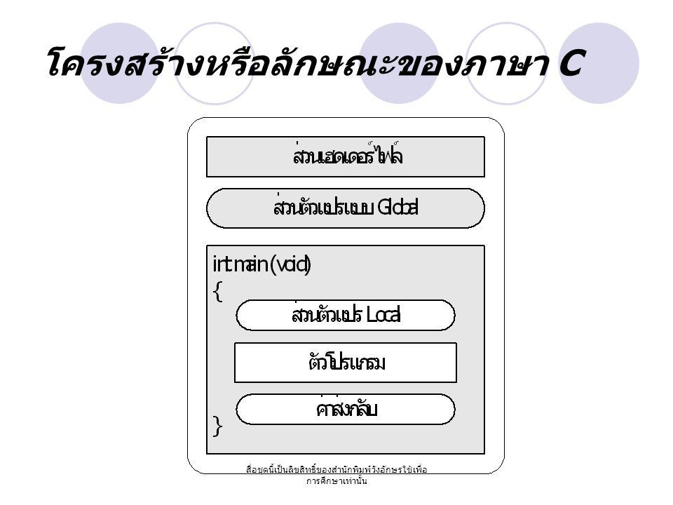 โครงสร้างหรือลักษณะของภาษา C