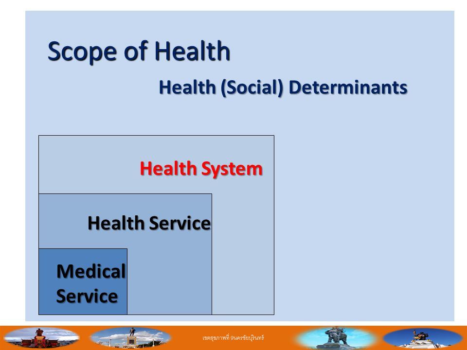 Scope of Health Health (Social) Determinants Health System