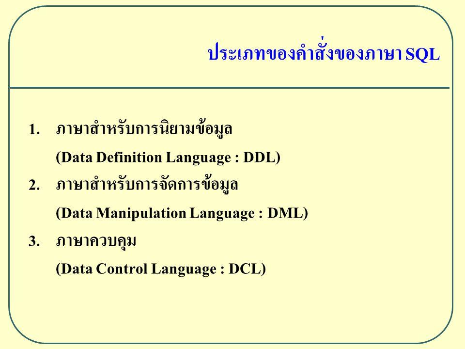 ประเภทของคําสั่งของภาษา SQL