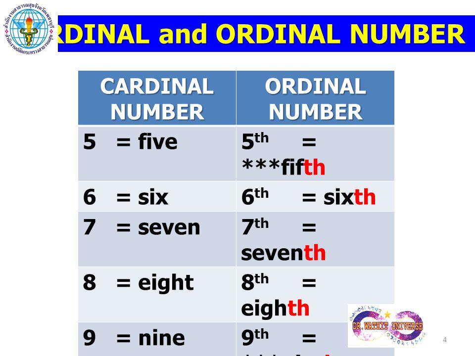 CARDINAL and ORDINAL NUMBER