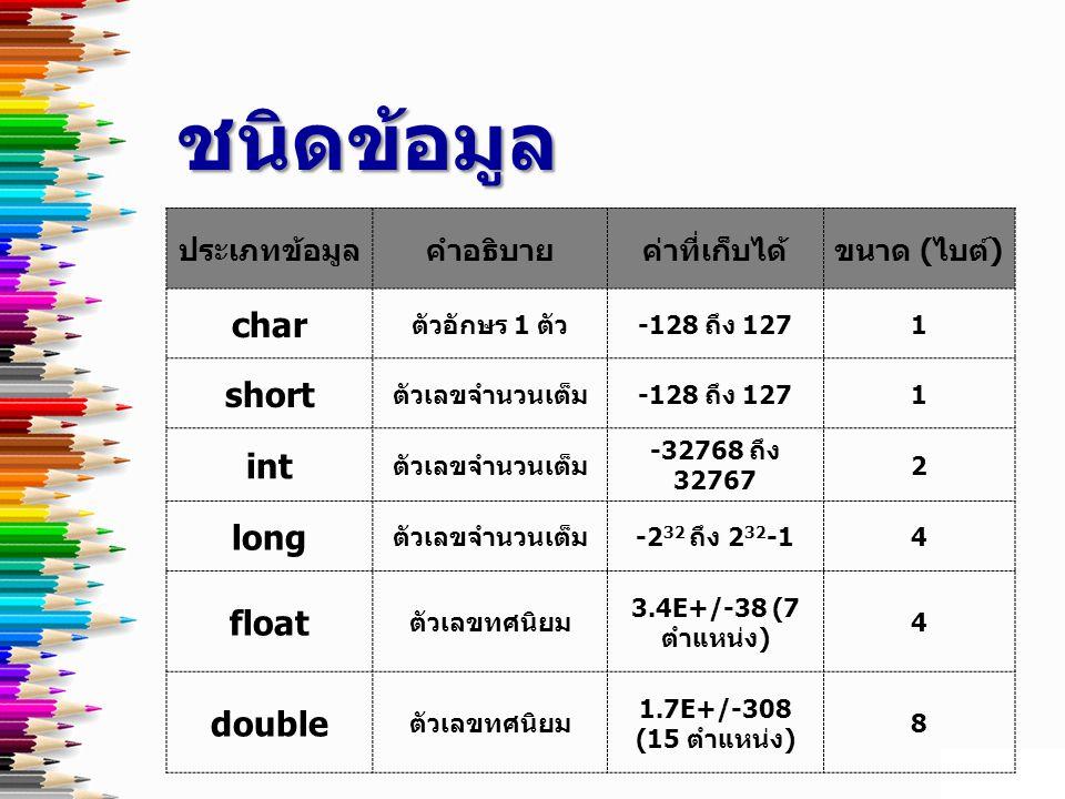 ชนิดข้อมูล char short int long float double ประเภทข้อมูล คำอธิบาย