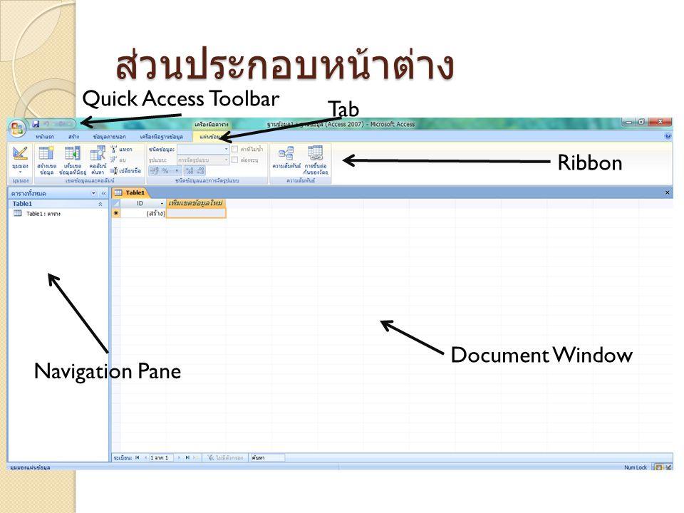 ส่วนประกอบหน้าต่าง Quick Access Toolbar Tab Ribbon Document Window