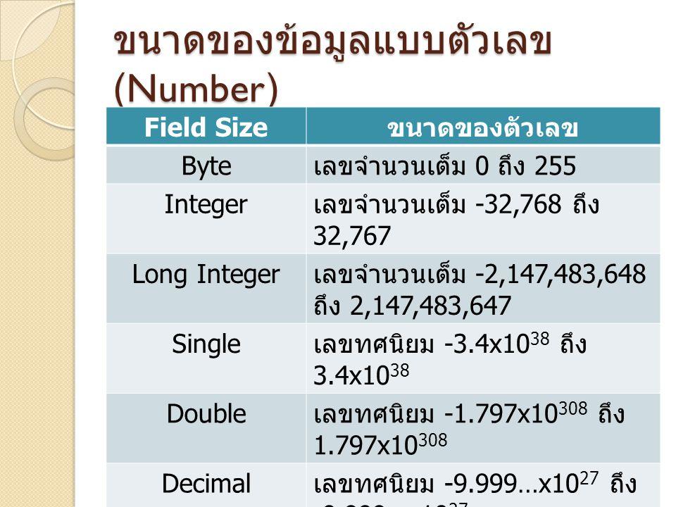 ขนาดของข้อมูลแบบตัวเลข (Number)