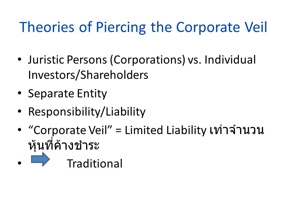 Theories of Piercing the Corporate Veil
