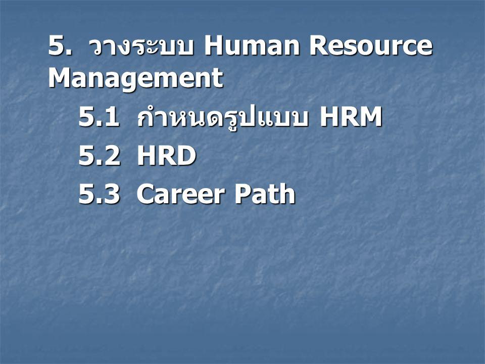 5.1 กำหนดรูปแบบ HRM 5.2 HRD 5.3 Career Path
