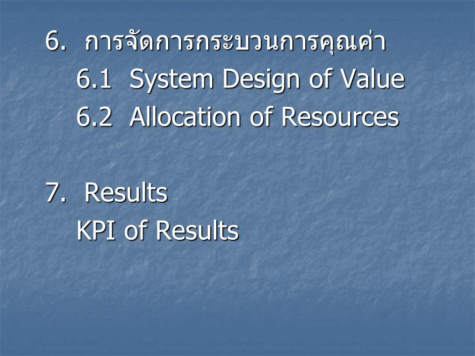 6. การจัดการกระบวนการคุณค่า