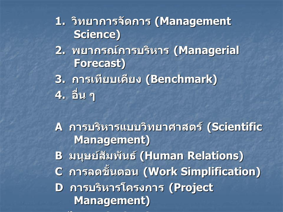 1. วิทยาการจัดการ (Management Science)