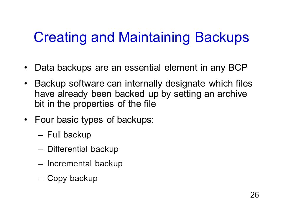 Creating and Maintaining Backups