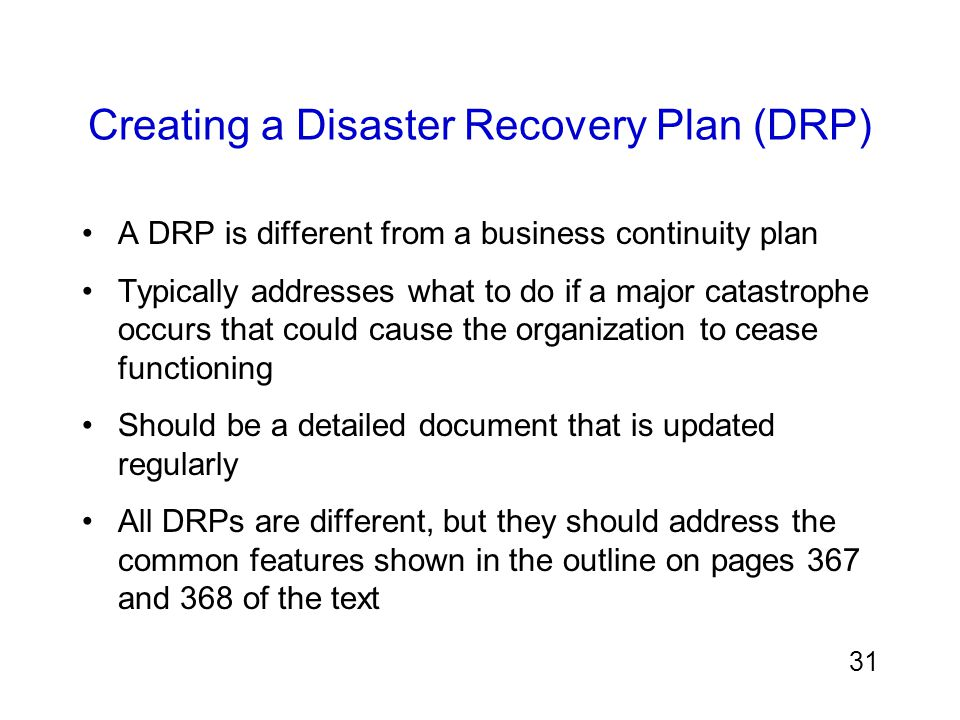 Creating a Disaster Recovery Plan (DRP)