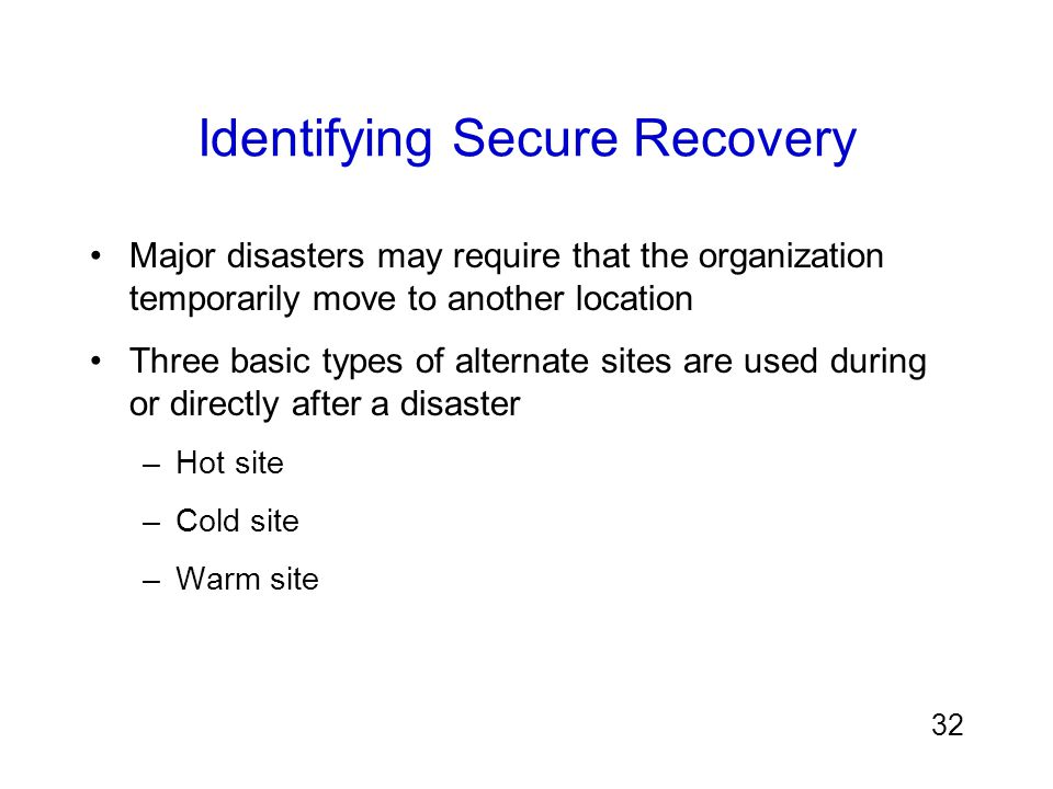 Identifying Secure Recovery
