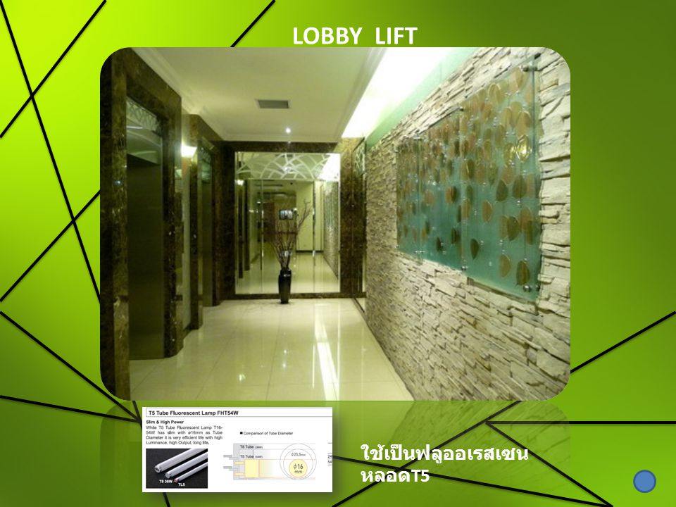 LOBBY LIFT ใช้เป็นฟลูออเรสเซนหลอดT5