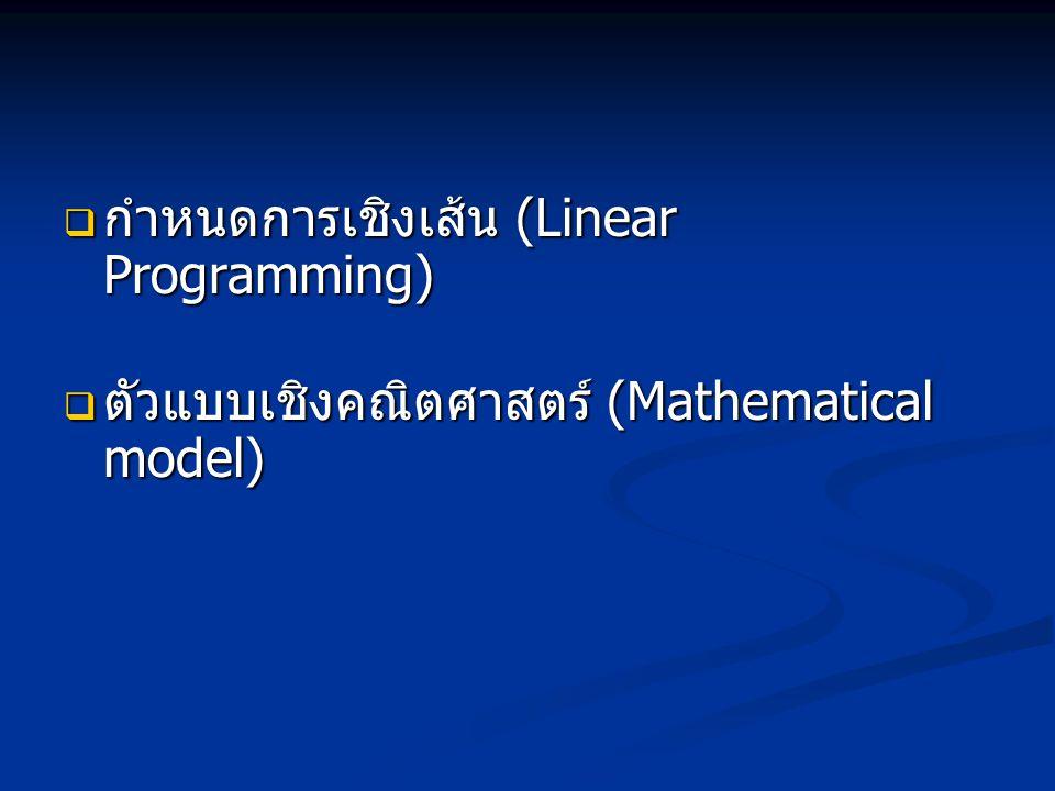 กำหนดการเชิงเส้น (Linear Programming)