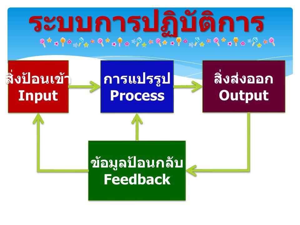 ระบบการปฏิบัติการ สิ่งป้อนเข้า Input การแปรรูป Process สิ่งส่งออก