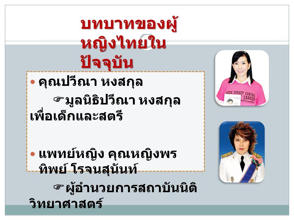 บทบาทของผู้หญิงไทยในปัจจุบัน