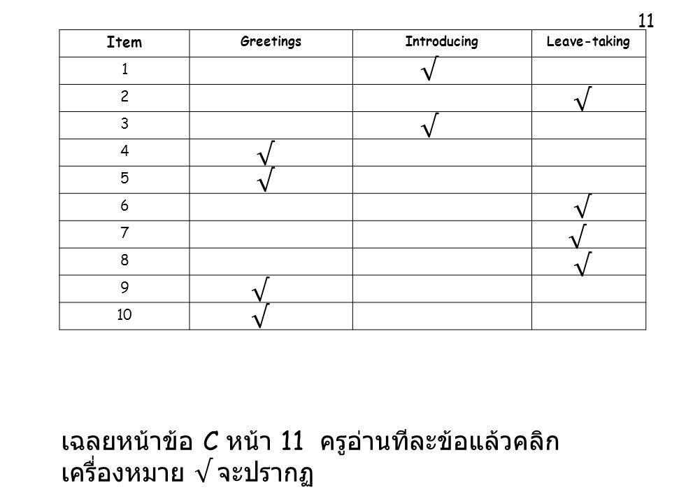 เฉลยหน้าข้อ C หน้า 11 ครูอ่านทีละข้อแล้วคลิกเครื่องหมาย √ จะปรากฏ