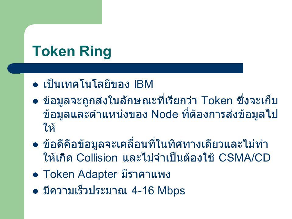 Token Ring เป็นเทคโนโลยีของ IBM