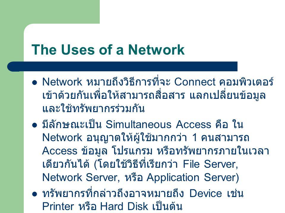 The Uses of a Network Network หมายถึงวิธีการที่จะ Connect คอมพิวเตอร์เข้าด้วยกันเพื่อให้สามารถสื่อสาร แลกเปลี่ยนข้อมูลและใช้ทรัพยากรร่วมกัน.