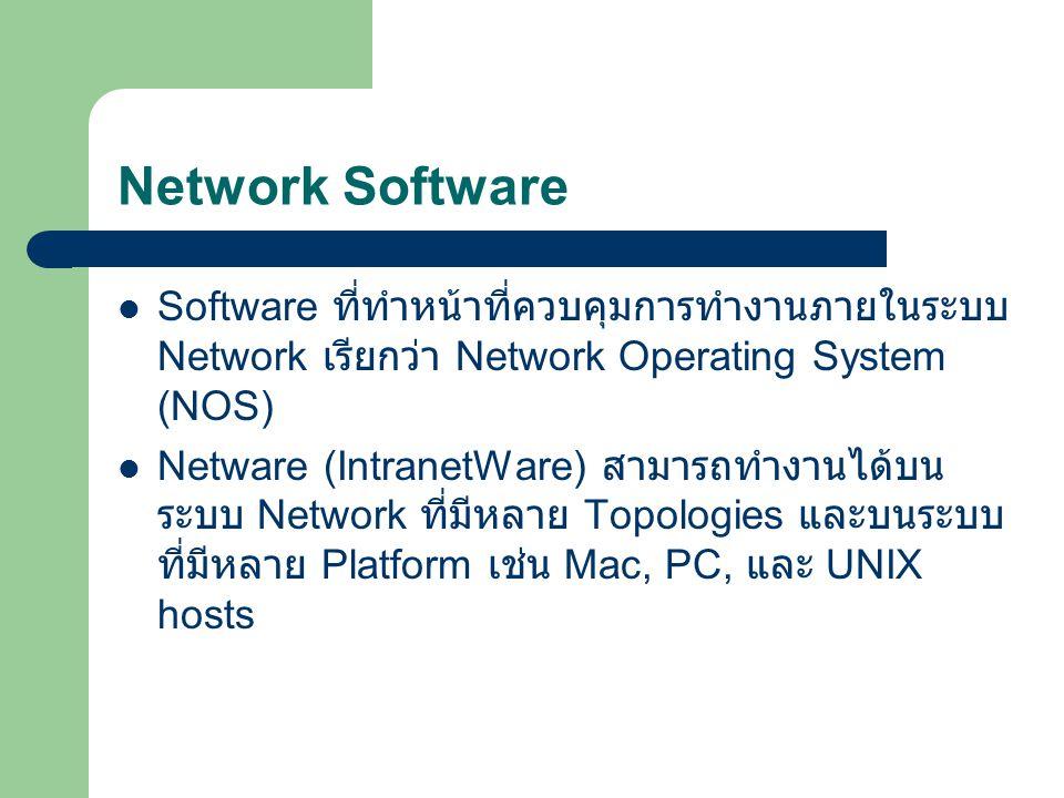 Network Software Software ที่ทำหน้าที่ควบคุมการทำงานภายในระบบ Network เรียกว่า Network Operating System (NOS)