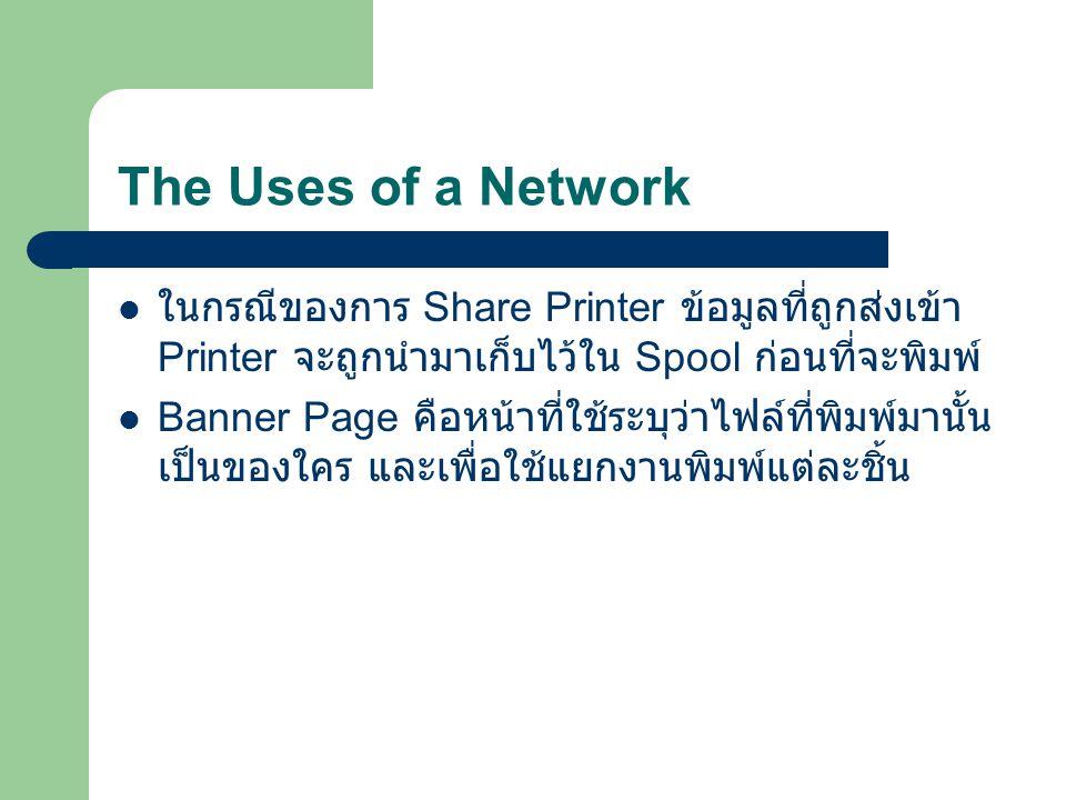 The Uses of a Network ในกรณีของการ Share Printer ข้อมูลที่ถูกส่งเข้า Printer จะถูกนำมาเก็บไว้ใน Spool ก่อนที่จะพิมพ์