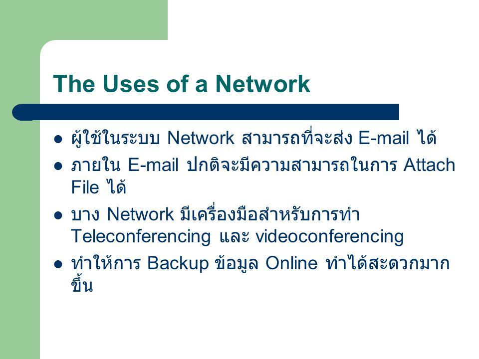 The Uses of a Network ผู้ใช้ในระบบ Network สามารถที่จะส่ง E-mail ได้
