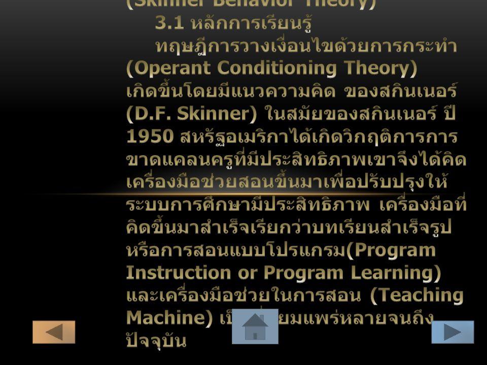3. ทฤษฎีการเรียนรู้ของสกินเนอร์(Skinner Behavior Theory)