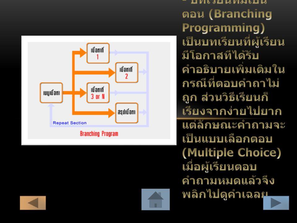- บทเรียนที่มีเป็นตอน (Branching Programming) เป็นบทเรียนที่ผู้เรียนมีโอกาสทีได้รับคำอธิบายเพิ่มเติมในกรณีที่ตอบคำถาไม่ถูก ส่วนวิธีเรียนก็เรียงจากง่ายไปยากแต่ลักษณะคำถามจะเป็นแบบเลือกตอบ (Multiple Choice) เมื่อผู้เรียนตอบคำถามหมดแล้วจึงพลิกไปดูคำเฉลย