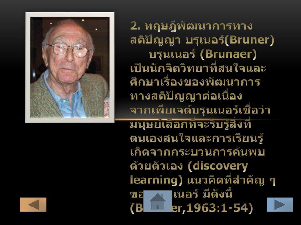2. ทฤษฎีพัฒนาการทางสติปัญญา บรุเนอร์(Bruner)